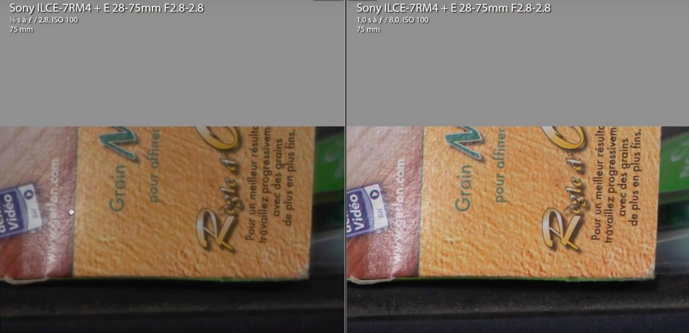 Diminution du piqué à 75mm