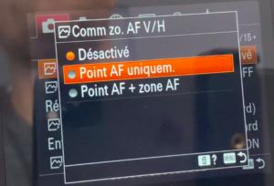 Configuration de l'AF Sony
