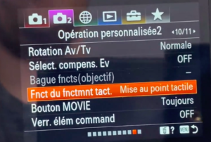 Activer le touch tracking sur appareil photo Sony