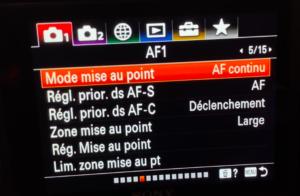 Configurer l'autofocus Sony avec le menu AF1