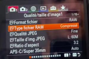 Fichier RAW pour le mode action Sony