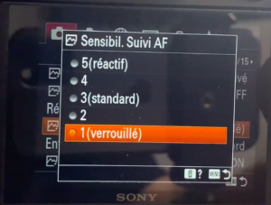 Réglage sensibilité suivi AF sur hybride Sony