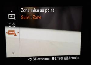 Suivi de l'AF Sony en mode zone