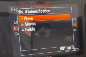 Régler le niveau d'intensification Sony